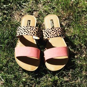 Pink and cheetah print sandals